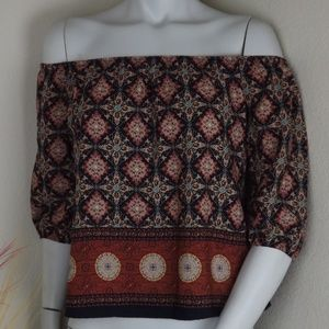 Mid Sleeve Off Shoulder MultiColored Floral Blouse